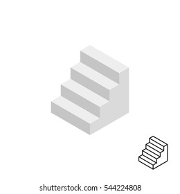 Stairway 3d icon. Isolated on white background. Vector illustration.