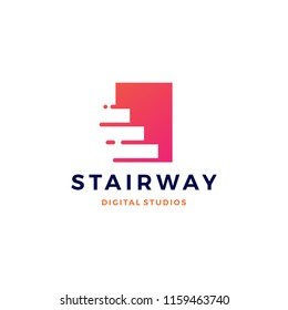 stairway digital tech upstair logo vector icon
