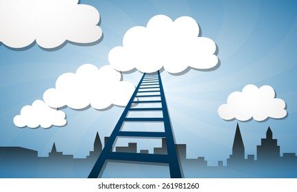 stairway to heaven, clouds and building silhouette, vector illustration
