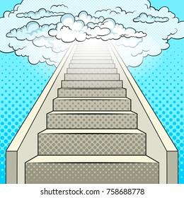 Stairway to heaven pop art retro vector illustration. Comic book style imitation.