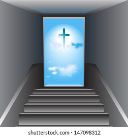 Stairway to Heaven. Way to God. The Cross of Jesus Christ. Vector.