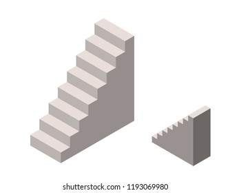 Stairway. Isolated on white background. 3d Vector illustration. Isometric projection.