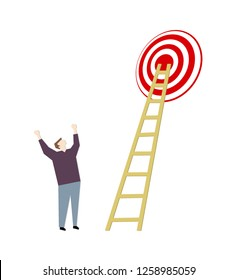 Stairway to success, Stairway to Red target, business target bullseye, Employees express joy after finding the way to the goal on white background. Design by Inkscape.
