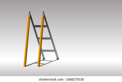 Stairway to success., yellow Two pencils and shadow staircase., Learning to succeed concept., copy space.