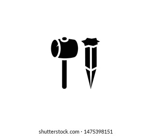 Stake hammer vector isolated flat illustration. Stake hammer icon