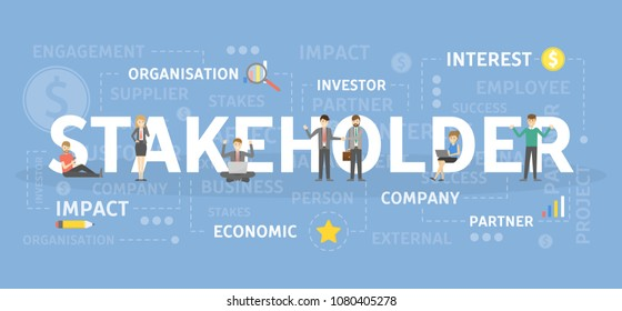 Stakeholder concept illustration. Idea of organisation and profit.