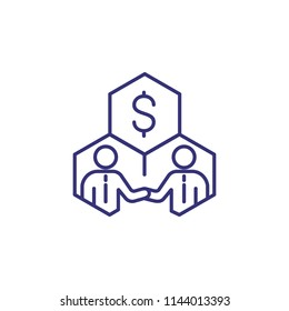 Stakeholders line icon. Money, businessmen, cells. Business concept. Can be used for topics like finance, investment, shareholding, stockholding