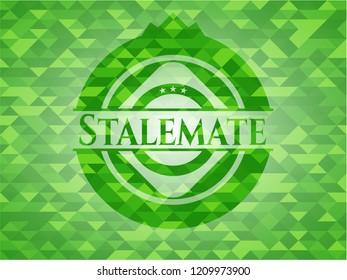 Stalemate green emblem. Mosaic background