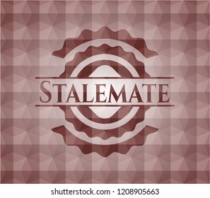 Stalemate red seamless emblem or badge with abstract geometric pattern background.