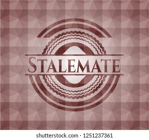 Stalemate red seamless emblem with geometric pattern background.