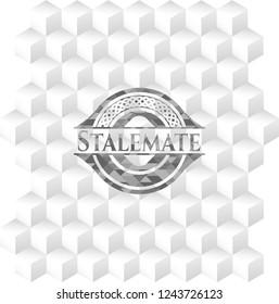 Stalemate retro style grey emblem with geometric cube white background