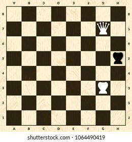 Stalemate situation in chess. Black and checkerboard