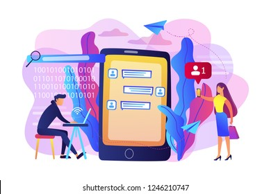 Stalker with laptop controls and intimidates the victim with messages. Cyberstalking, pursuit of social identity, online false accusations concept. Bright vibrant violet vector isolated illustration