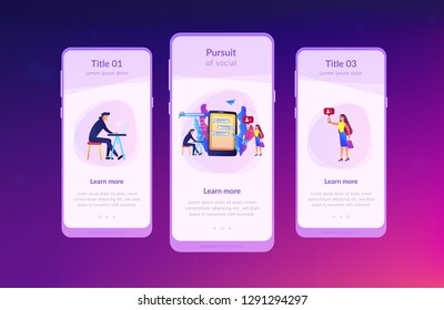 Stalker with laptop controls and intimidates the victim with messages. Cyberstalking, pursuit of social identity, online false accusations concept. Mobile UI UX GUI template, app interface wireframe