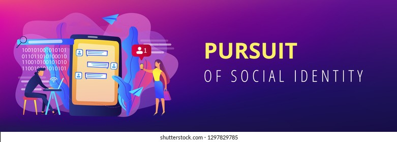 Stalker with laptop controls and intimidates the victim with messages. Cyberstalking, pursuit of social identity, online false accusations concept. Header or footer banner template with copy space.