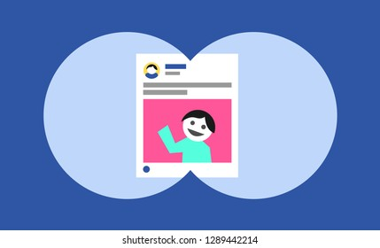 Stalking on the social media and social networking site - victim's post and image on the internet is followed by voyeurist follower and pursuer. Vector illustration