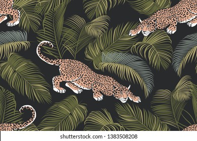 The stalking wild jaguar and palm leaves. Exotic seamless pattern on a dark background. Hand drawn jungle texture. Vector illustration.