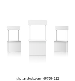 Stall or blank information promo booth isolated on white background. Vector empty exhibition table stand display set. Clear plastic counter mock up or kiosk template for your presentation design