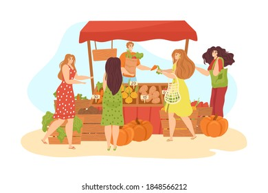 Stall market on street with food and vegetables stands isolated on white vector illustration. Market-stall, people shopping and woman selling fresh organic fruits and vegetables. Marketplace.