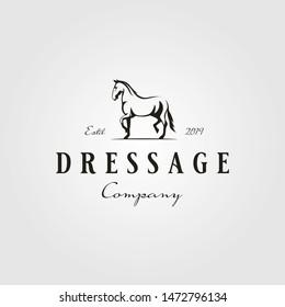 stallion horse running dressage logo hipster vintage vector