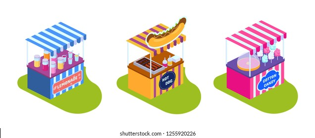 Stalls, showcases with street food market, drinks, sweets. Street stall with kiosk lemonade, shop hot dogs, city fast food, sweet ice cream. Children's game park of attractions. Isometric vector.