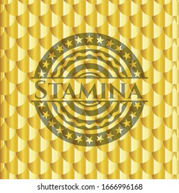 Stamina gold emblem. Scales pattern. Vector Illustration. Detailed.