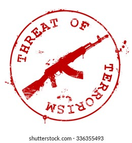 Stamp with AK-47 and bloody blots - threat of terrorism