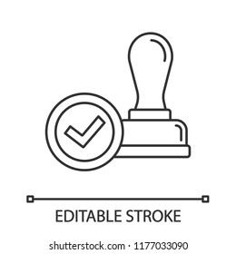 Stamp Approved Linear Icon Of Approval Thin Line Illustration Verification And Validation