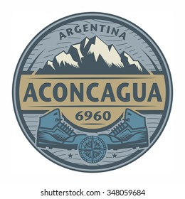 Stamp or emblem with text Aconcagua, Argentina, vector illustration