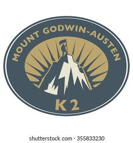 Stamp or emblem with text Mount Godwin-Austen, K2, vector illustration