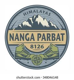 Stamp or emblem with text Nanga Parbat, Himalayas, vector illustration