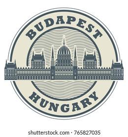 Stamp or emblem with words Budapest, Hungary inside, vector illustration