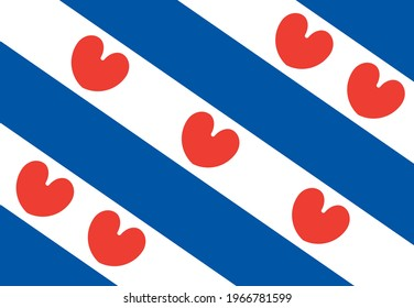 stamp flag of friesland vector - editable flags and maps