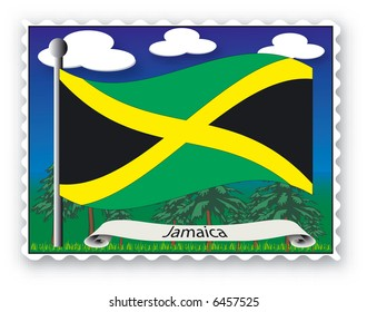 Stamp with flag from Jamaica-Vector
