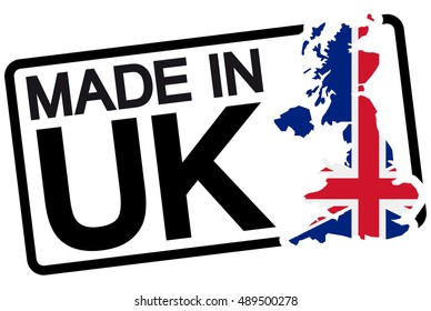 stamp with frame colored black and text Made in UK