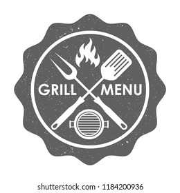 """Stamp grill menu sign. Crossed barbecue tools, flame and text """"GRILL MENU"""" on stamp . Isolated symbol on white background. Logo. Vector illustration"""