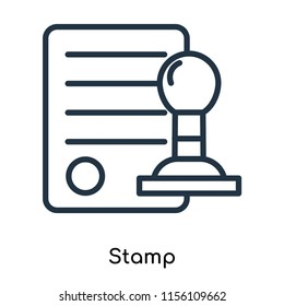 Stamp icon vector isolated on white background, Stamp transparent sign , thin symbols or lined elements in outline style