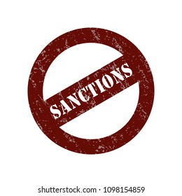 Stamp with the inscription of the sanctions. Vector isolated on white background.