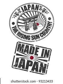 Stamp of Japan and rising sun