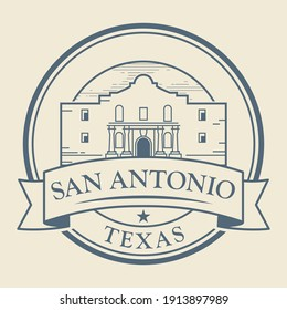 Stamp or label with Alamo Mission in San Antonio, Texas, inside, vector illustration