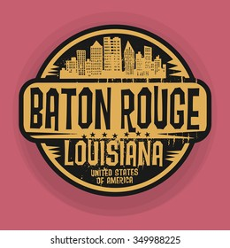 Stamp or label with name of Baton Rouge, Louisiana, vector illustration