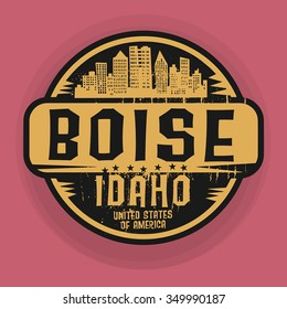 Stamp or label with name of Boise, Idaho, vector illustration