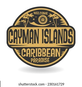 Stamp or label with the name of Cayman Islands, vector illustration