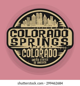 Stamp or label with name of Colorado Springs, Colorado, vector illustration