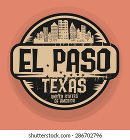 Stamp or label with name of El Paso, Texas, vector illustration