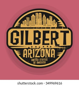 Stamp or label with name of Gilbert, Arizona, vector illustration