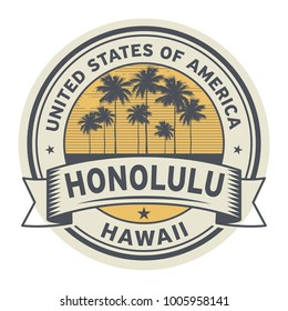 Stamp or label with name of Hawaii, Honolulu, USA, vector illustration