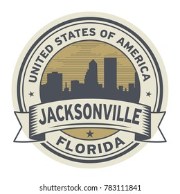 Stamp or label with name of Jacksonville, Florida, vector illustration