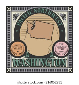 Stamp or label with name and map of Washington, USA, vector illustration