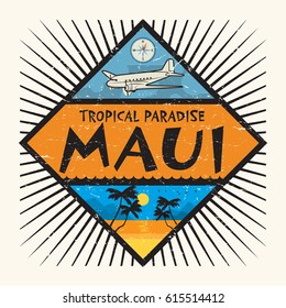 Stamp or label with the name of Maui Island, Hawaii, Tropical Paradise, vector illustration
